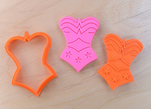 Superhero Girl's Suit Cookie Cutter and Stamp Set (3.3 x 4.5 inches)