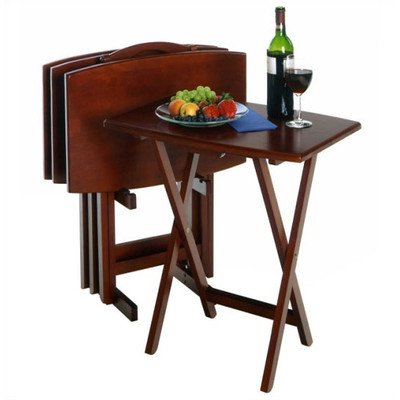 Powell 4 Piece TV Table Set, Upright foldable storage stand