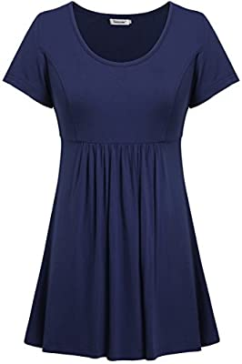 Tencole Womens Scoop Neck Short Sleeve Tunic Tops Empire Waist Peplum Blouse