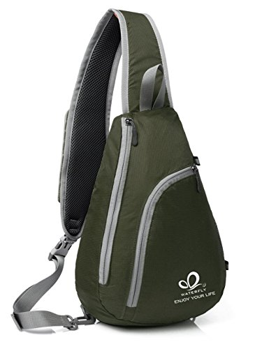 WATERFLY Chest Sling Shoulder Backpacks Bags Fashion Cute Crossbody Rope Triangle Pack Rucksack for Hiking or Multipurpose Daypacks and School Handbag for Man Women Lady Girl Teens (Army Green)