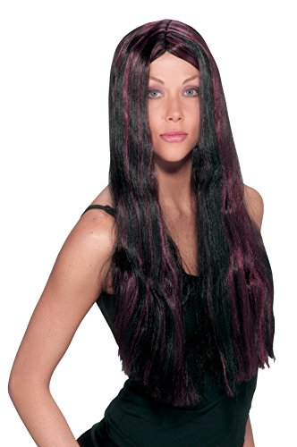 UHC Long Straight Black Wig w/ Burgundy Striped Witch Costume (Witch Striped Wig)