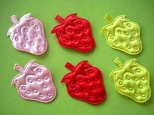 60 Embossed Strawberry Satin Applique/Trim/Motif/Red/Pink/Yellow/Craft #ID-1087