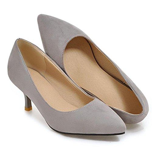 COOLCEPT Mujer Moda sin Cordones Mini tacons Bombas Zapatos Trabajo Boca Baja Zapatos Gris
