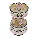 Hoxekle 1 Pcs 3-Horse Carousel Music Box Artware/Gift Melody Castle in The Sky Pink/Purple/Blue/Gold