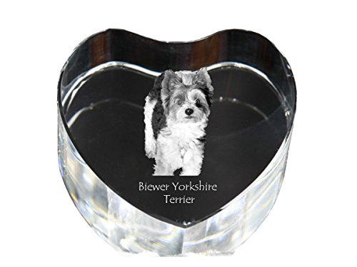 Yorkshire Terrier Art (Biewer Yorkshire Terrier, crystal heart with dog, decoration, limited edition, glass collection)