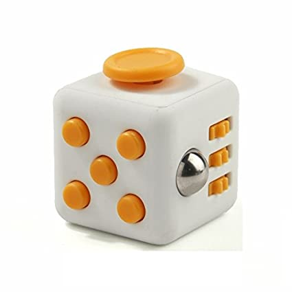 Fidget Cube Anti Stress Focus Improvement Toy White And Yellow