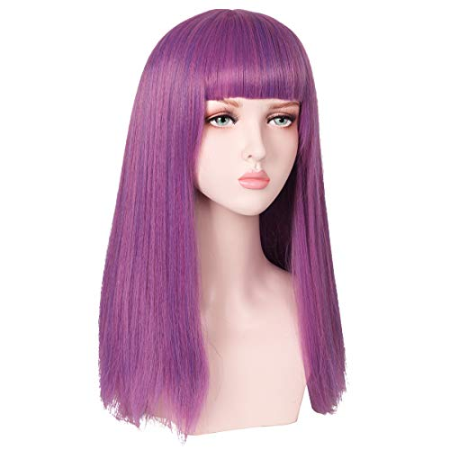 ColorGround Female Adult Long Straight Purple Cosplay Wig with Straight Bangs