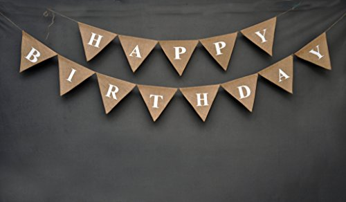 - Happy Birthday Banner- Burlap Banner - Rustic Burlap Birthday Banner - Rustic Elegant Happy Birthday Bunting - Unisex Birthday Garland - Rustic Elegant Universal Birthday Decor