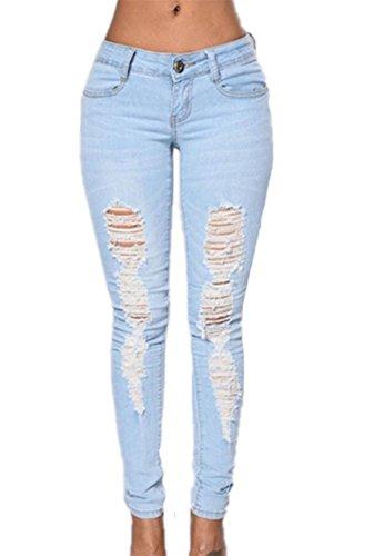 Jeans 2018 Azzurro Pantaloni Holes Stretch Skinny Stonewashed Blue Ripped Mid donna Waist rpxwqr