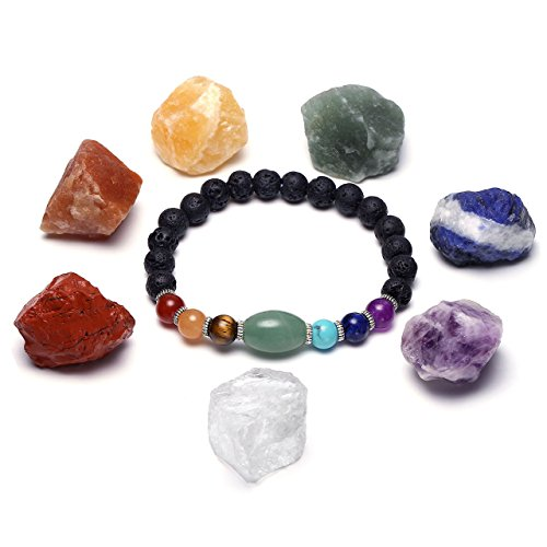 CrystalTears 7 Chakra Healing Kit, Lava Rock Gemsotne Essential Oil Diffuser Bracelet Natural Raw Rough Stones Yoga Meditation Set