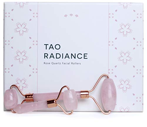 Tao Radiance Best 2 in 1 Real Rose Quartz Roller For Face Jade Roller Alternative for Wrinkles, Puffiness Under Eyes, Fine Lines and Dark Circles with Bonus Mini Rose Quartz Roller, How To Book, and Storage Pouch
