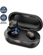Wireless Earbuds, Mpow Bluetooth Earbuds APTX 6D Bass Sound /42 Hrs Charging Case/IPX7/CVC 8.0 Noise Cancelling Mic Bluetooth headphones, Sports Earphones w/Button Control/Compact & Comfort Design Black