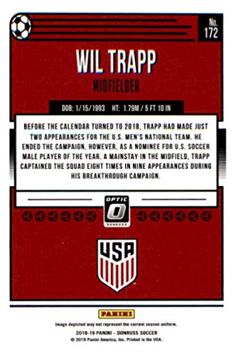 ae4f10095 Amazon.com  2018-19 Donruss Optic  172 Wil Trapp United States Soccer Card   Collectibles   Fine Art