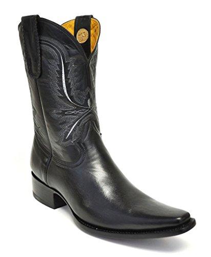 - Gavel Men's Handcrafted Black Goatskin Spanish Toe Cowboy Boot (7 E(M) US)