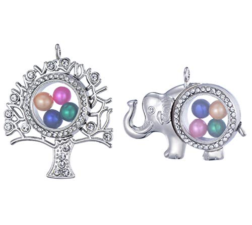 2pcs Stainless Steel Tone Tree of Life Elephant Alloy Glass Pearl Cage Charm Pendant Pearl Living Memory Floating Locket for DIY Jewelry Making (11615)