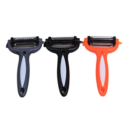 LiPing 3In1 Rotary Stainless Steel Kitchen Graters - Fruit Vegetable Carrot Potato Peeler Cutter Slicer Amazing Healthy (A)