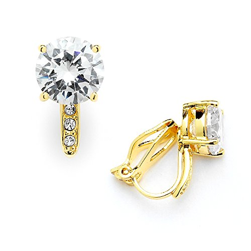 Mariell 2.0 Ct. Clip-On CZ Solitaire Stud Earrings (8mm) with Pave Accents - Genuine 14k Gold Plated (Non Pierced Diamond Earrings)