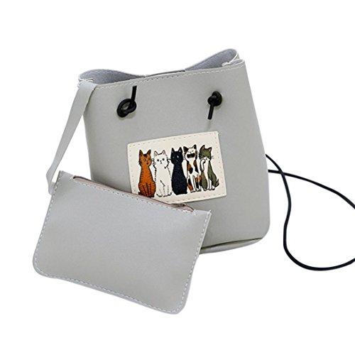LHWY Bolsa De Cubo Gato Bolsos De Mano Para Mujer Bolsa De Gato Mujer Bolsa De Mensajero Bolso Crossbody Bolso De Mano Gris