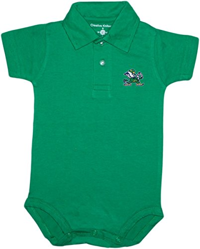 University of Notre Dame Fighting Irish Leprechaun Newborn Polo Bodysuit, Nd Green, 0-3 Months