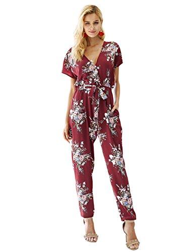 Simplee Women's Summer Sexy V Neck Short Sleeve Drawstring Floral Print Jumpsuit 4/6 Burgundy