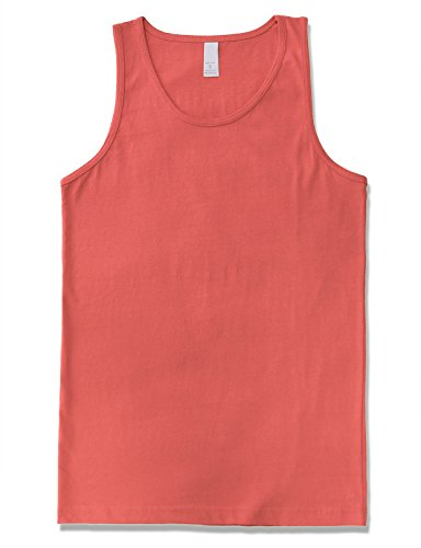 (JD Apparel Men's Premium Basic Solid Tank Top Jersey Casual Shirts 2XL Coral)