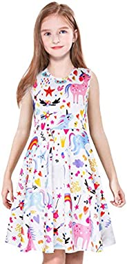 ModaIOO Gilrs Unicorn Dinosaur Mermaid Butterfly Shortsleeve/Sleeveless Knee/Maxi Dress