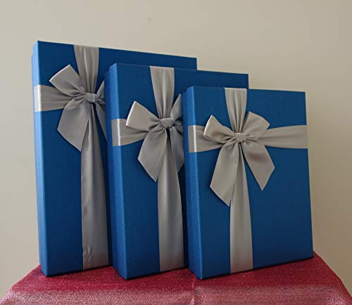 Blue Rectangular Gift Boxes with Ribbon, a Nested Set of 3