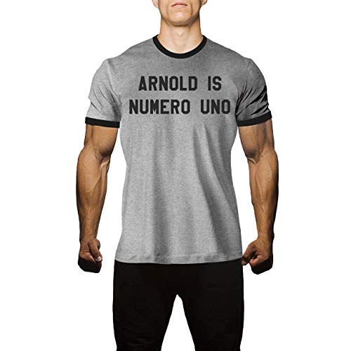 Arnold is Numero Uno Men's T Shirt for Bodybuilding Workout Gym Shirts (X-Large, Athletic Heather/Jet Black) Arnold Is Numero Uno T-shirt