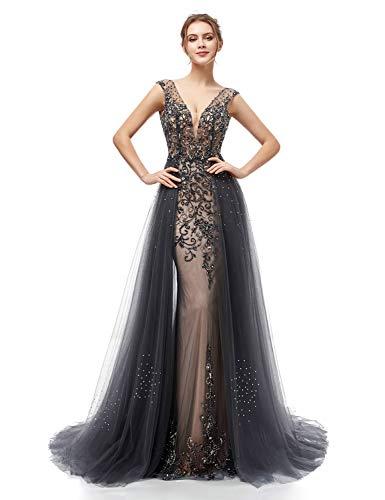 (Clearbridal Women's Long Beaded Formal Prom Dresses V-Neck Mermaid Evening Dresses 2019)
