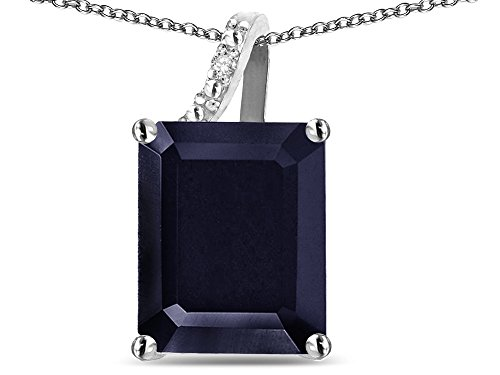 Star K Large 10x8 Octagon Emerald Cut Genuine Black Sapphire Pendant Necklace 10 kt White Gold