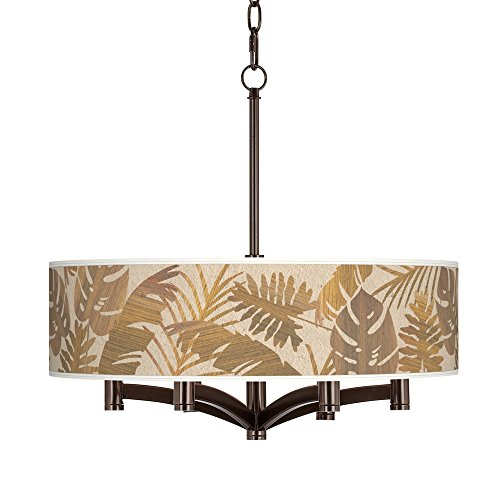 Tropical Woodwork Ava 6-Light Bronze Pendant Chandelier - Exclusive Custom Giclee Shade