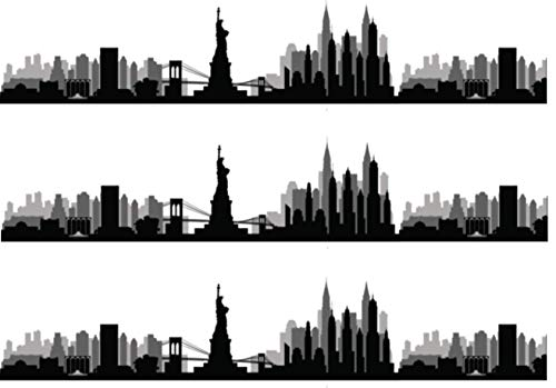 New York Skyline Silhouette Pre Cut Edible Icing Cake Side Strips/Ribbons 3 x Pre-cut Strips of Icing - Each strip is 2.5