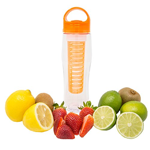InfusaLife Loop Infuser Water Bottle– Best of All Fruit Infused Water Bottles – Leak Proof – BPA-Free - Holds 24 oz of Naturally Flavored Water for Weight Loss and Healthy Living (Orange)