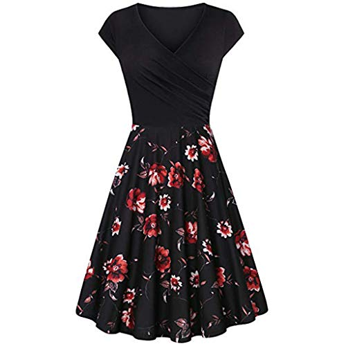 Auimank Valentine's Day Present,Women's Short Sleeve Cross V- Neck Dresses Vintage Elegant Flared A-Line Dress(Black,XX-Large)