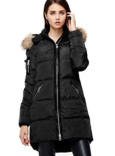 Escalier Women's Down Jacket with Real Fur Hooded Winter Parka Coat Black ()