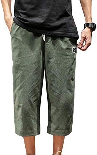 MengFanワイドパンツ メンズ サルエルパンツ 7分丈 棉 麻 パンツ 袴パンツ メンズ 夏 パンツ リネン パンツ