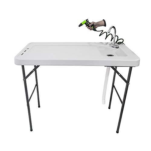 Candora Outdoor Folding Multifunctional Fish Table Picnic Table with Spray Gun & Faucet White