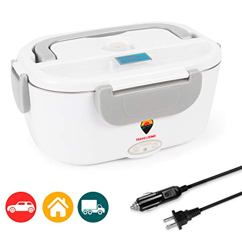 Electric Lunch Box 2 in 1 for Car/Truck and Work 110V & 12V 40W - Stainless Steel Portable Food Warmer Heater 1.5L - Spoon and 2 Compartments Included from Travelisimo