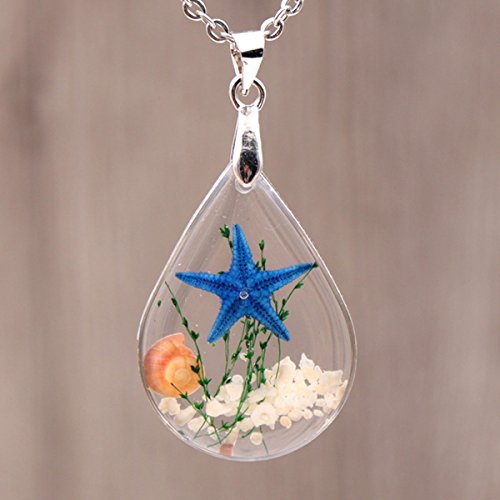 Chicer Pendant Real Starfish Seashell Underwater Plant Life Necklace, Cute Drop Water Necklace for Women and Girls. (Blue)