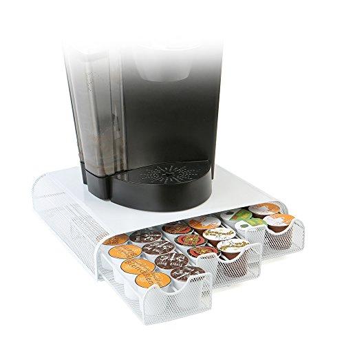 Mind Reader TRY3PCMESH-WHT Anchor 36 Capacity Triple K-Cup Dolce Gusto, CBTL, Verismo, Single Serve Coffee Pod Holder Drawer, White Metal ()