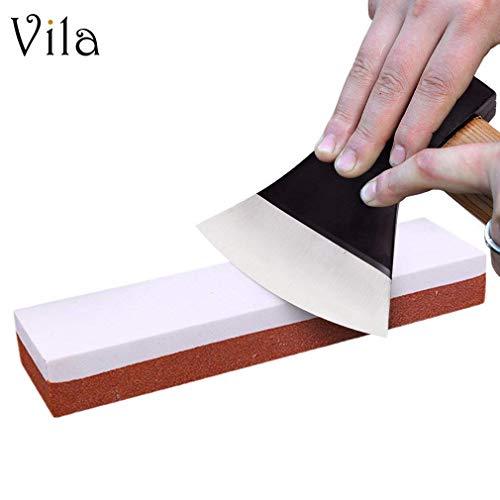 "8"" Whetstone Sharpening Stone - Hatchet, Knife & Axe Sharpener For Home, Field, Shop - Multipurpose, Professional-Grade Sharpening Tool With Red Anti-Slip Plastic Base - For Fine & Coarse Grinding"