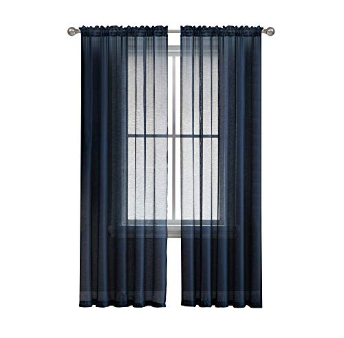- Jane - Rod Pocket Semi-Sheer Curtains - 2 Pieces - Total Size 108