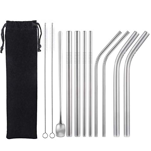 [9 Pack]Gature Reusable Boba Straws Stainless Steel,Mental Straws with Case Dessert Spoon 2 Cleaning Brush,0.2/0.5 inch Drinking Straws Reusable for Bubble Tea,Smoothies,Milkshakes,Juice,Cocktail