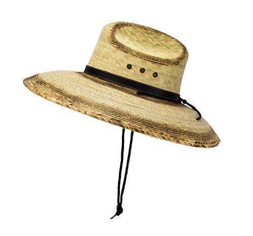 Natural Palm Leaf Straw Super Wide Brim Lifeguard Hat with Chin Strap, Flex Fit (Burnt Stain)