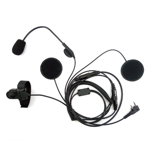 Zeadio Open/half Face Motorcycle Bike Helmet Earpiece Headset Mic Microphone for 2 Pin Kenwood Baofeng Puxing Quansheng Weierwei Wouxun Radio Tg-k4at Tg-2at Tg-45at Tg-42at Tg-22at Tg-25at Etc. by Zeadio