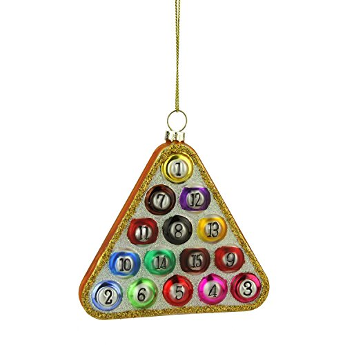 Billiard Ball Ornament (Northlight Glass Pool Ball in Triangle Billiard Rack Christmas Ornament, 4