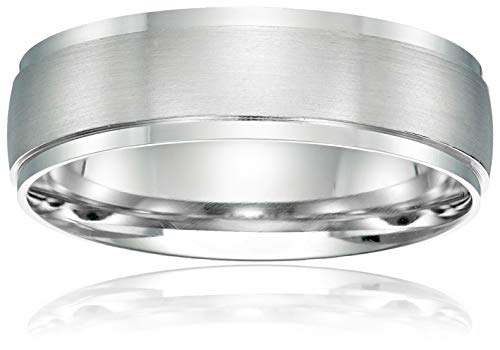 Platinum Collection Mens (Men's Platinum 6mm Domed Wedding Band With Matte Center And High Polished Edges, White, Size 9)