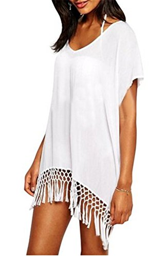 Taydey Women's Swimwear Knitted Crochet Tunic Cover up / Beach Dress White