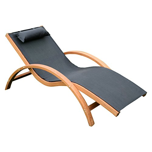 Giantex Lounge Chair Larch Wood Beach Yard Patio Camping Lounger W/ Headrest (Black) (Chair Beach Wood)
