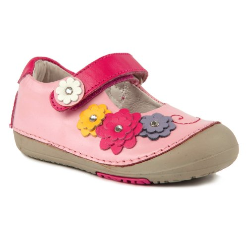 Momo Baby Girls First Walker/Toddler Flower Power Mary Jane Leather Shoes - 5.5 M US Toddler
